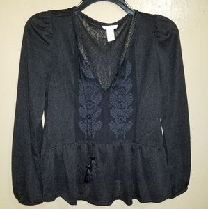 Beautiful H&M black long sleeve top